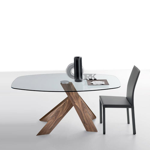 Moa oval fixed wooden dining table by Compar