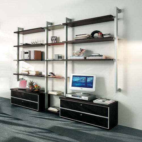 Clean and straight lines of TV Unit wall bookcase library by La Primavera