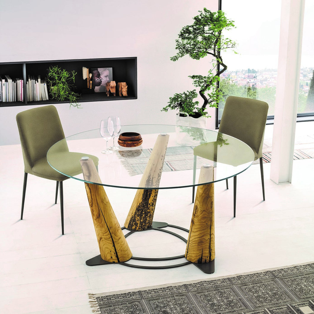 Laguna round or rectangular glass dining table by Sedit