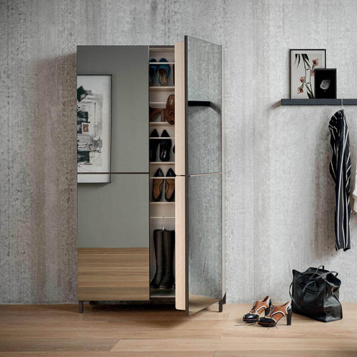 Linear 2 mirrored door shoe storage unit by Birex - myitalianliving