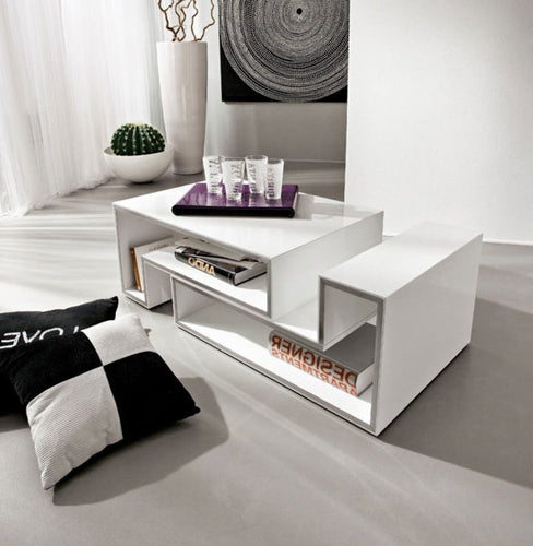 Marika modular white gloss coffee table by La Primavera