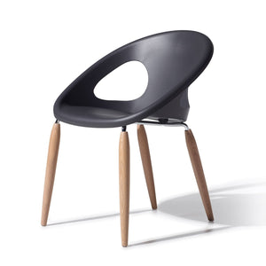 Pop bistro dining chair with wooden legs by Scab Design