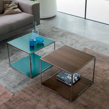 Load image into Gallery viewer, Square coffee table made of metal and veneered wood by Dall'Agnese