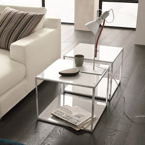 Square coffee table made of metal and veneered wood by Dall'Agnese