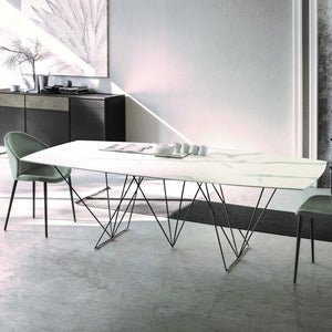 Prisma extending dining table with varnished base by Sedit