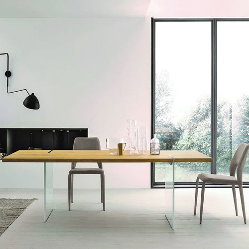 Reflex glass base fixed dining table by Sedit