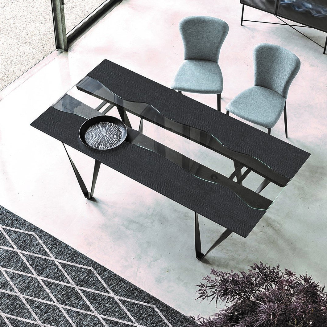 Rio Curly contrasting striped fixed dining table by Sedit