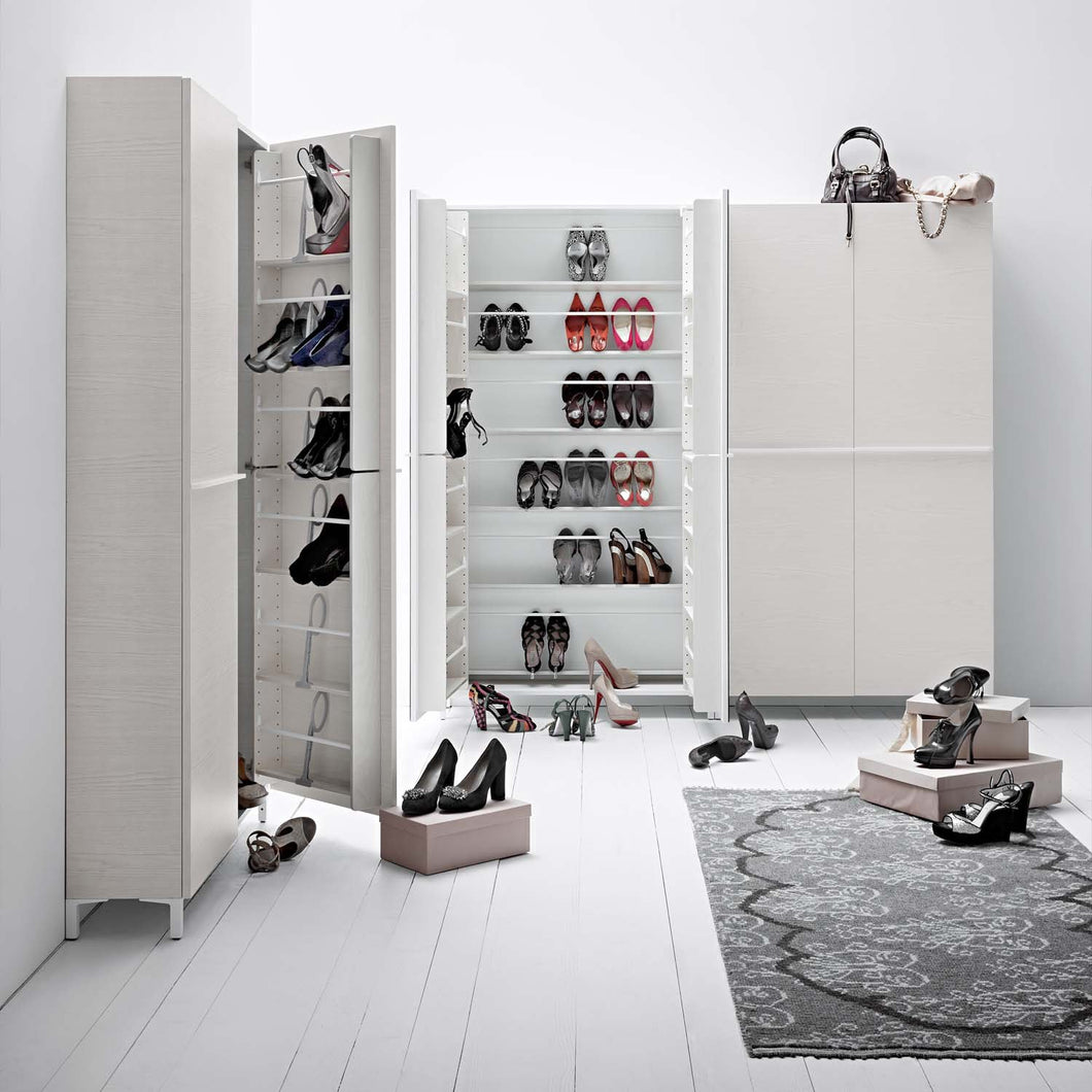 Linear 3 white wooden shoe storage units by Birex - myitalianliving