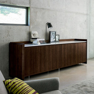 Sideboard made of veneered wood, marble top by Dall'Agnese