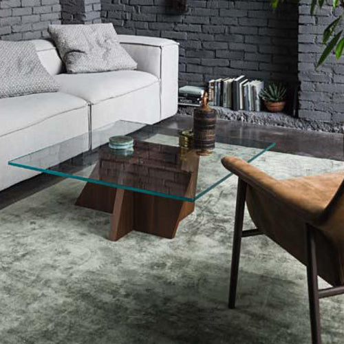 Stripe modern staggered base coffee table by Dall'Agnese