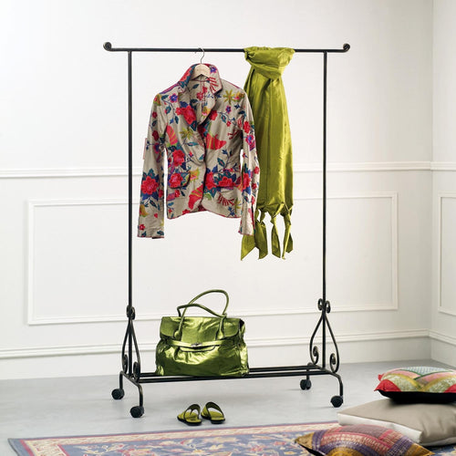 Wrought iron coat garment rack stand with wheels by Cosatto