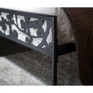 Flower laser cut wrought iron bed