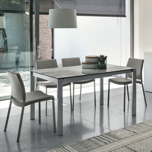 Optional porcelain stoneware or glass table top