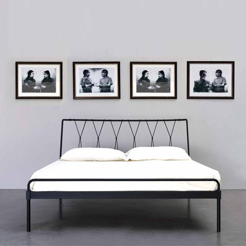 Polo tubular wrought iron king size bed by Cosatto Letti
