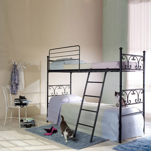 Vienna wrought iron bunk bed with ladder by Cosatto Letti