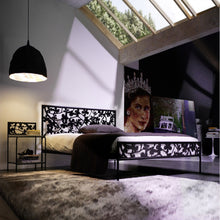Load image into Gallery viewer, Flower laser cut wrought iron bed by Cosatto Letti