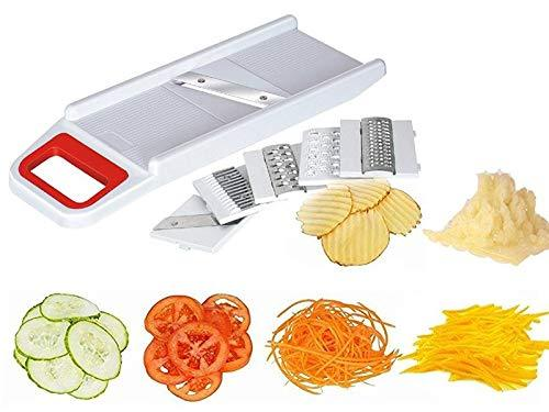 Your Brand Plastic Kitchen Chopper Non Electric Cutter Mixer with 6 Pieces Slicing Blades, Multicolour, Medium
