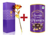 047+879 Effete Festival Gift Combo - Chocolicious Peanut 96gm with Golden Rose 10 INCHES with Carry Bag Valentine Special