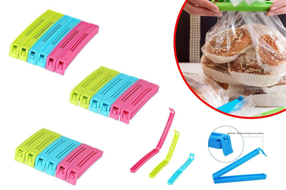 105 Plastic Snack Bag Clip Sealer Set (18 Pcs, Multicolour)