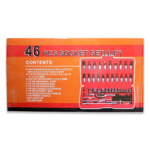 422 Socket 1/4 Inch Combination Repair Tool Kit (Red, 46 pcs)
