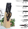 102 Kitchen Knife Set with Wooden Block and Scissors (5 pcs, Black)