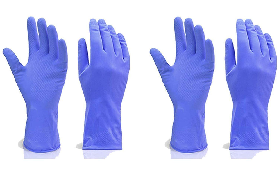 666 - Flock line Reusable Rubber Hand Gloves (Blue) - 1pc