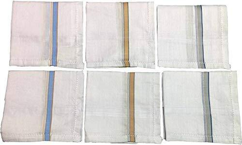 595 Men's Cotton Handkerchief (White, 12 pcs)
