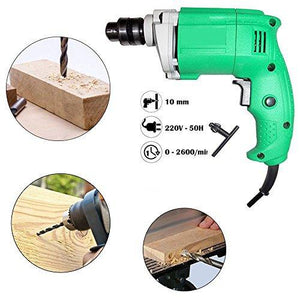 Your Brand Power Tools Electric Drill Machine 10MM - 2600 Rpm, 220V- 50Hz, 13-pcs Drill Bits Set