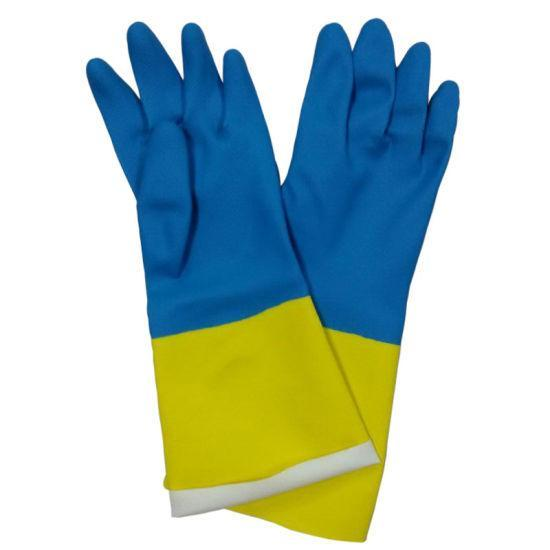 671 - Dual Color Reusable Rubber Hand Gloves (Yellow + blue) - 1 pc