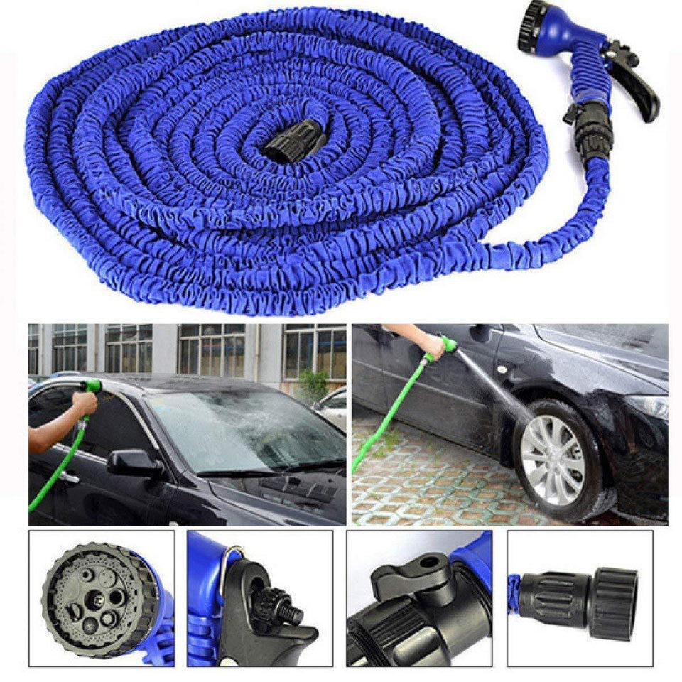 502 -50 Ft Expandable Hose Pipe Nozzle For Garden Wash Car Bike With Spray Gun