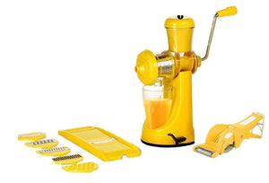 Your Brand Kitchen combo - Manual Juicer, 6 in 1 Slicer, Vegetables Cutter with Peeler and 6 Plastic Glasses