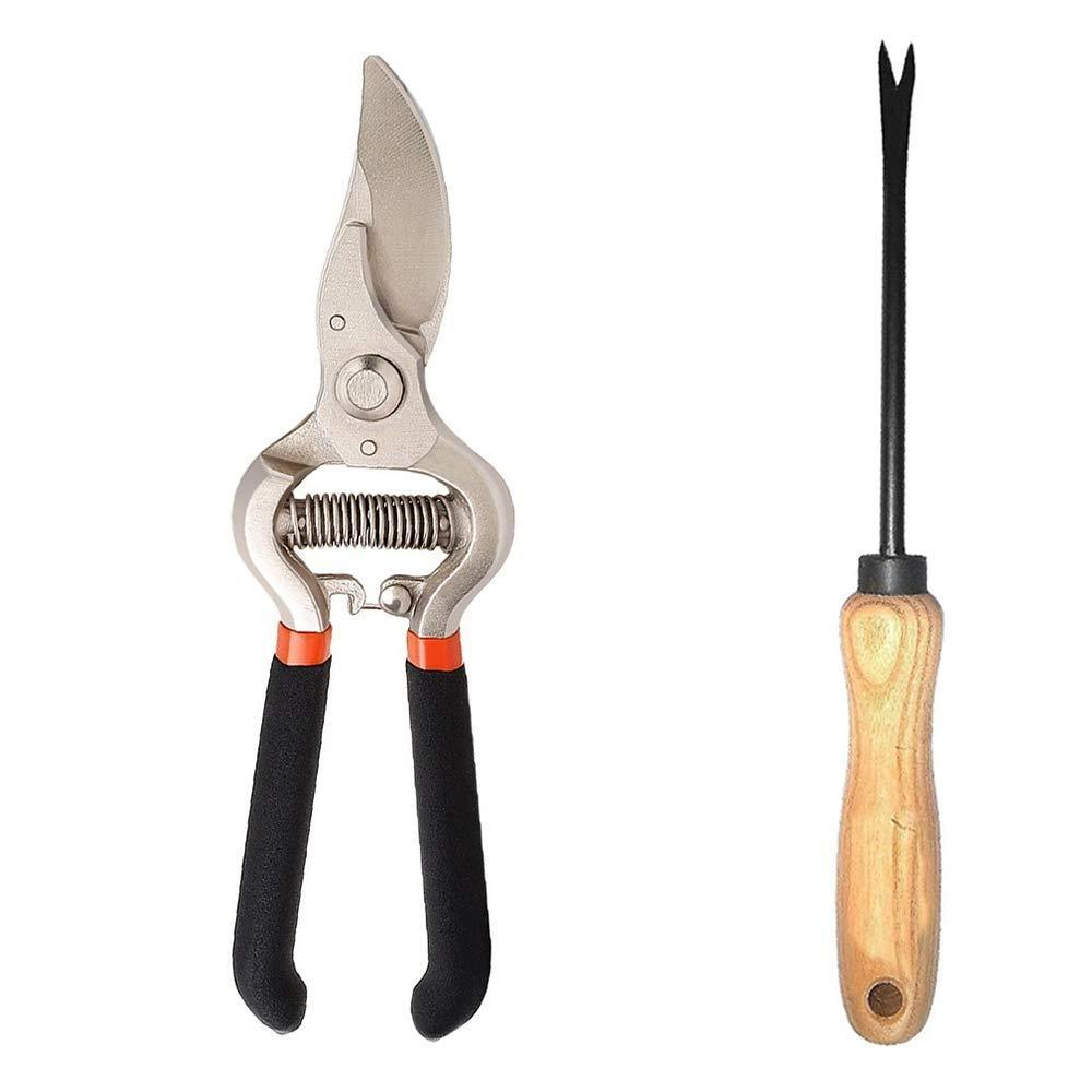 Your Brand Garden Combo - Garden Shears Pruners Scissor (8-inch) & Hand Weeder Straight