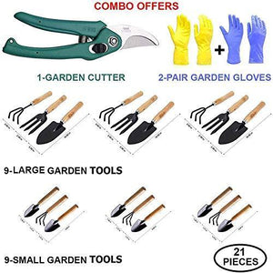 Your Brand Garden 21pc Super Combo-Hand Cultivator(Big 3pc+Small 3pc), Small Trowel (Big 3pc+Small 3pc), Garden Fork(Big 3pc+Small 3pc) , Garden Scissors Pruning Seeds & Reusable Mix Color Glove(2pc)