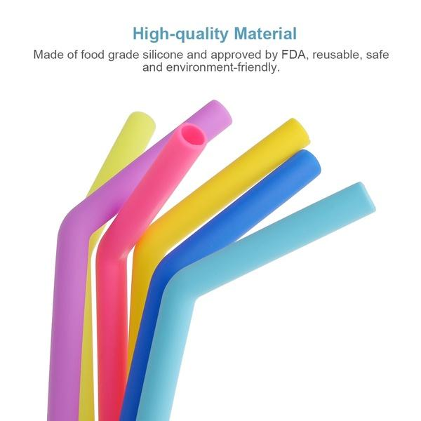Your Brand Food Grade Silicone Straws(4pc) & Straw Cleaning Brush(1pc)