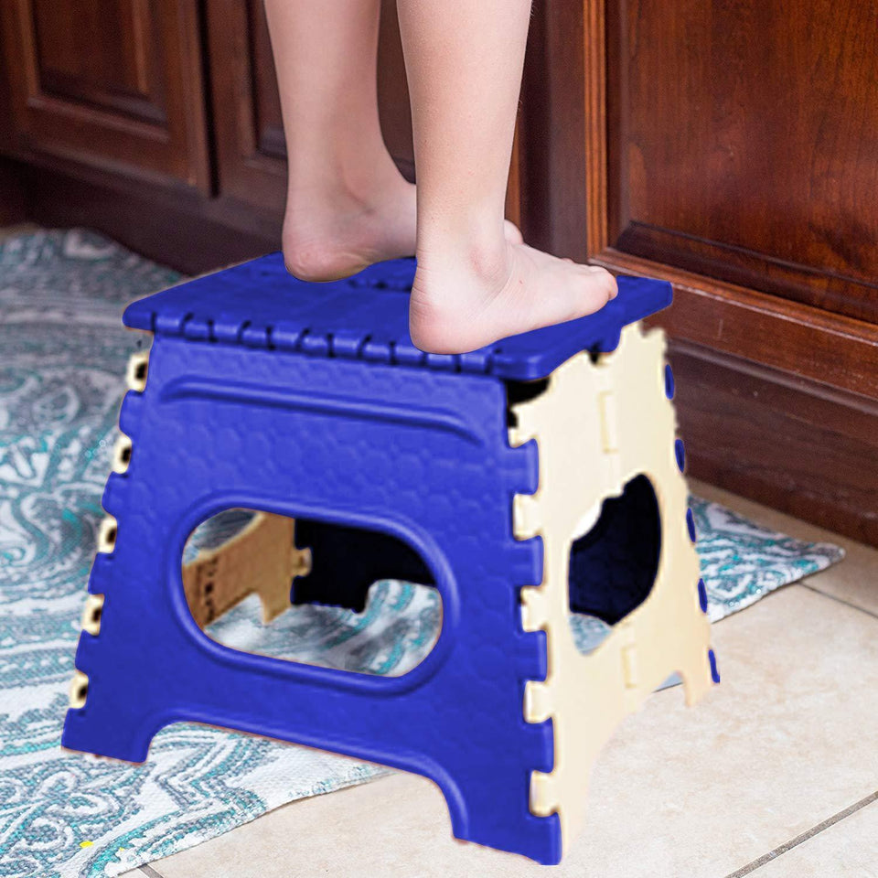 2009_12 Inch Plastic Folding Step Stool for Kids and Adults with Handle (Multicolor)