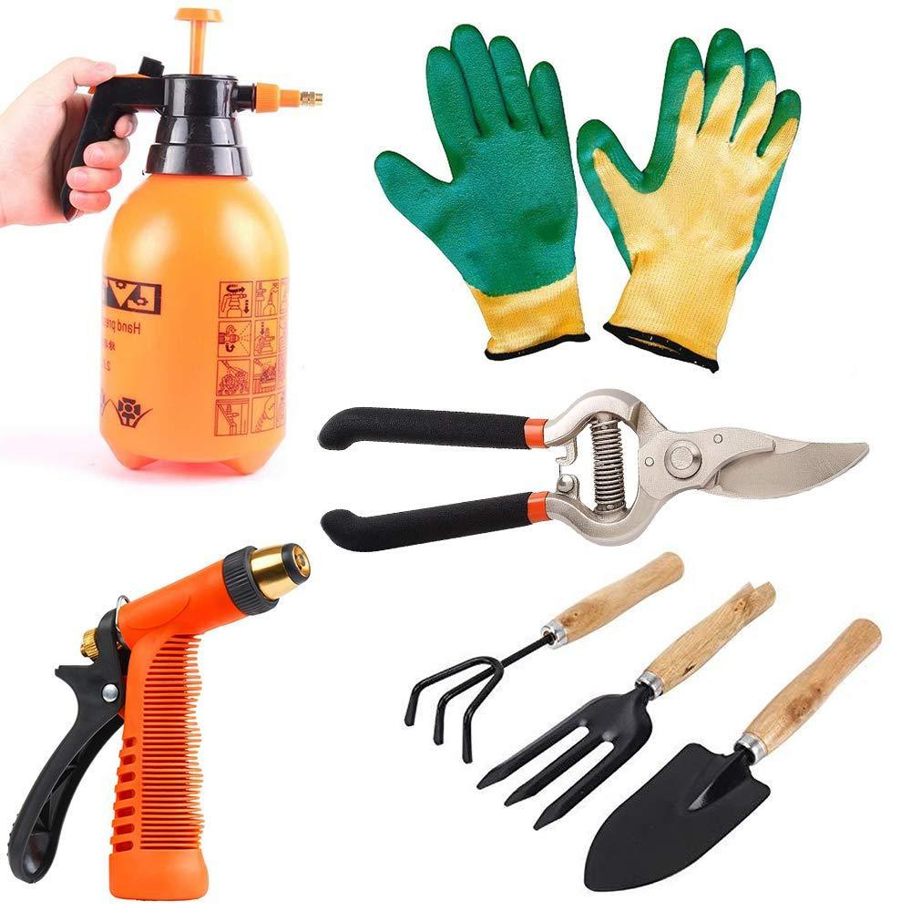 Your Brand Gardening Tools - Water Lever Spray Gun | Cultivator, Small Trowel, Garden Fork | Pressure Garden Spray Bottle | Falcon Gloves | Garden Shears Pruners Scissor (8-inch)