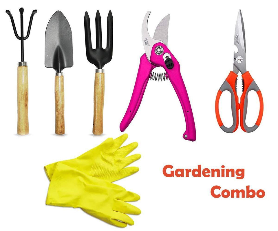 Your Brand Gardening Combo - Cultivator, Trowel, Garden Fork, Flower Cutter (Hedge Shears), Household & Garden Scissor with Rubber Gloves(1pair)