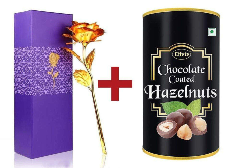 046+879 Effete Festival Gift Combo - Chocolate Coated Roasted Hazelnut 96gm with Golden Rose 10 INCHES with Carry Bag