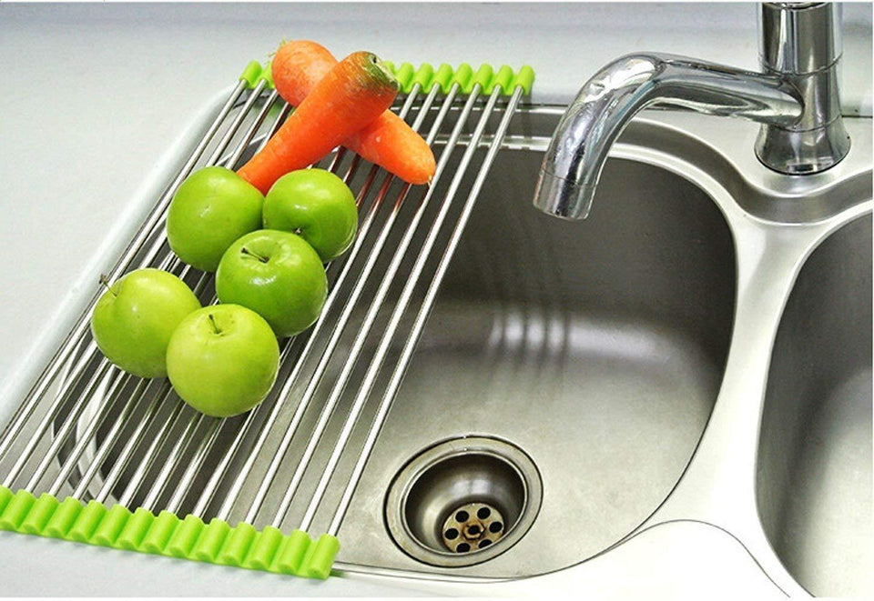 2001_Stainless Steel Sink Folding Fruit Vegetable Drying Drain Rack Dish Drying Rack, Stainless Steel Roll-Up Over Sink Rack Kitchen Foldable Drying Drainer