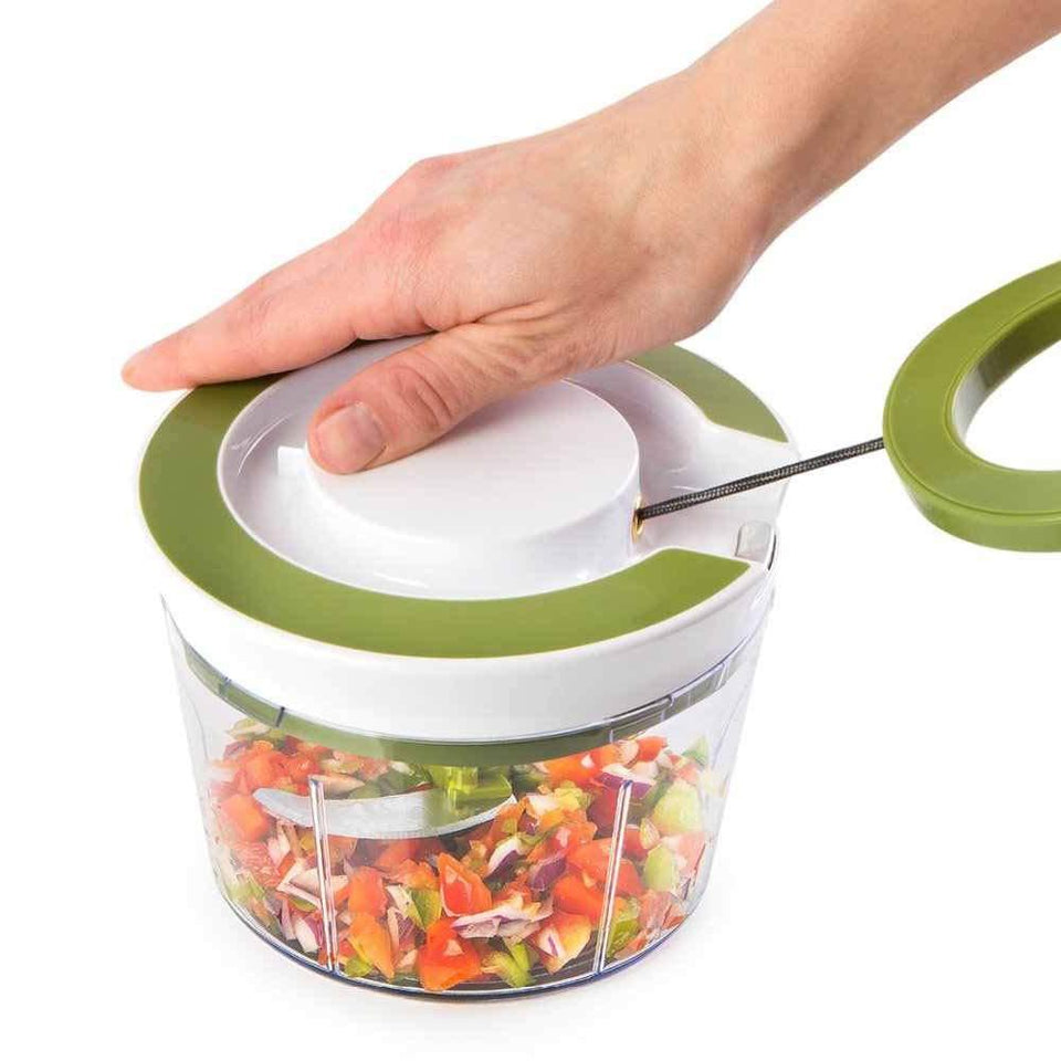 Your Brand Kitchen combo - Manual 2 in 1 Handy smart chopper for Vegetable Fruits with spiral cutter