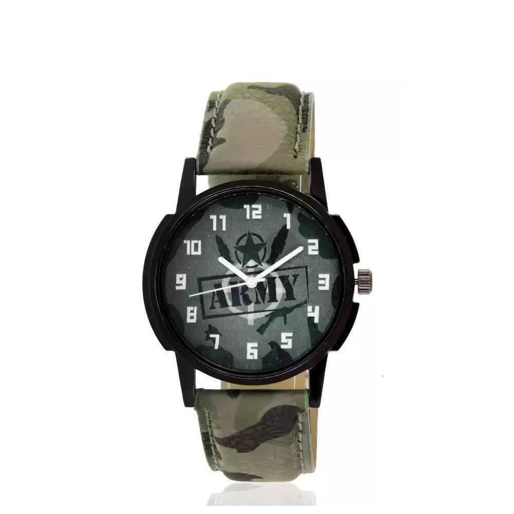 wt1005- Unique & Premium Analogue Watch Army Print Multicolour Dial Leather Strap (Army 5)