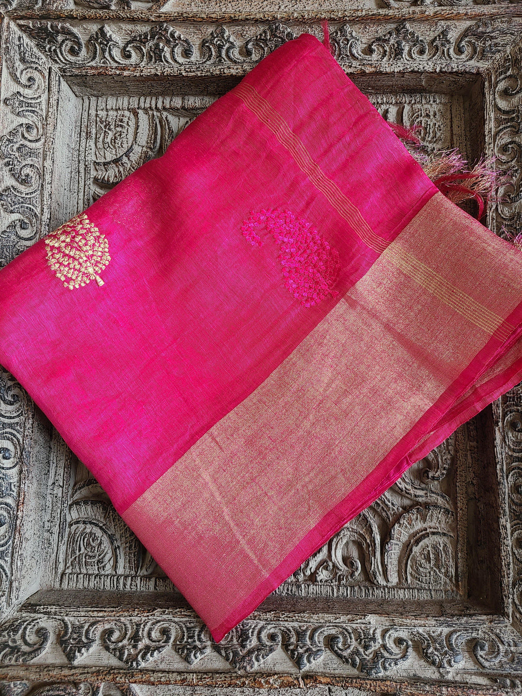 Silk Linen Saree with Embroidery - RuHH