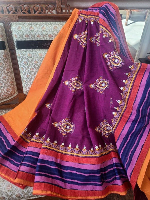 Cotton Mangalgiri Kantha Saree