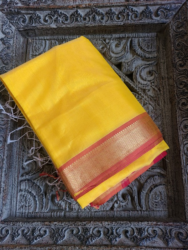 Golden Yellow Maheshwari Geecha Saree