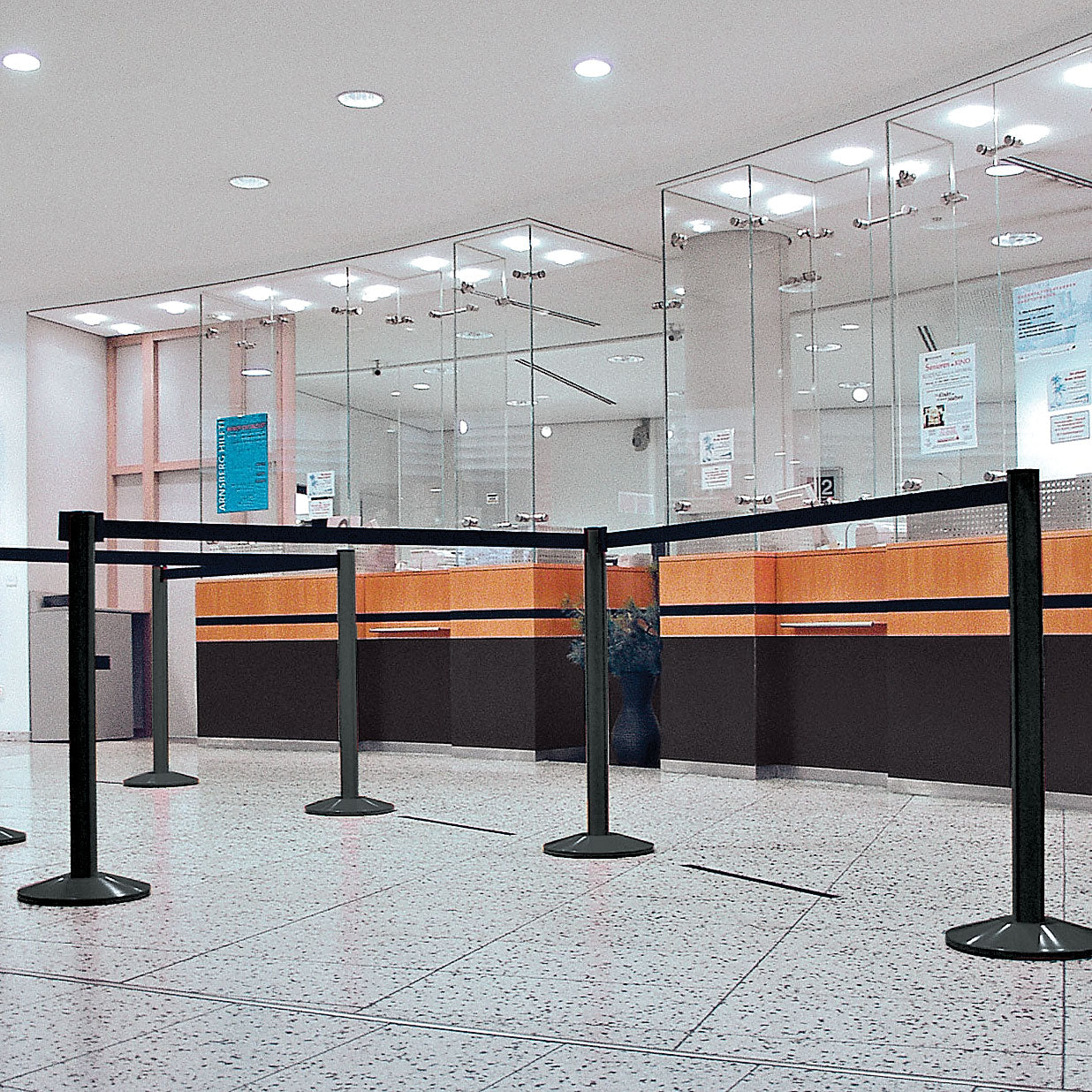 Freestanding Stanchion with 7' Retractable Belt Barrier