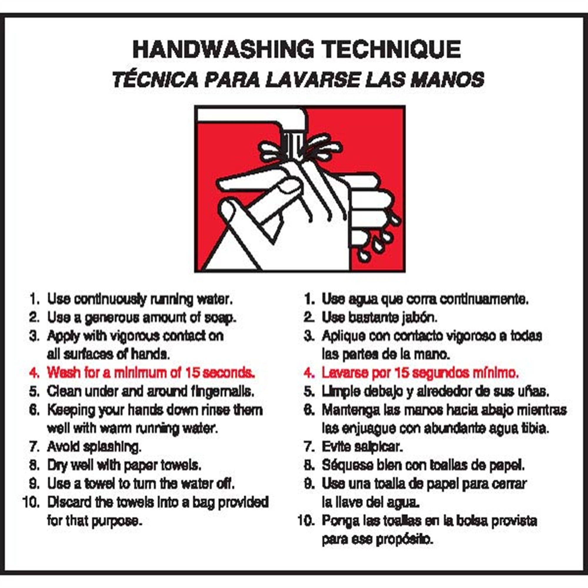 Bilingual Handwashing Technique Label