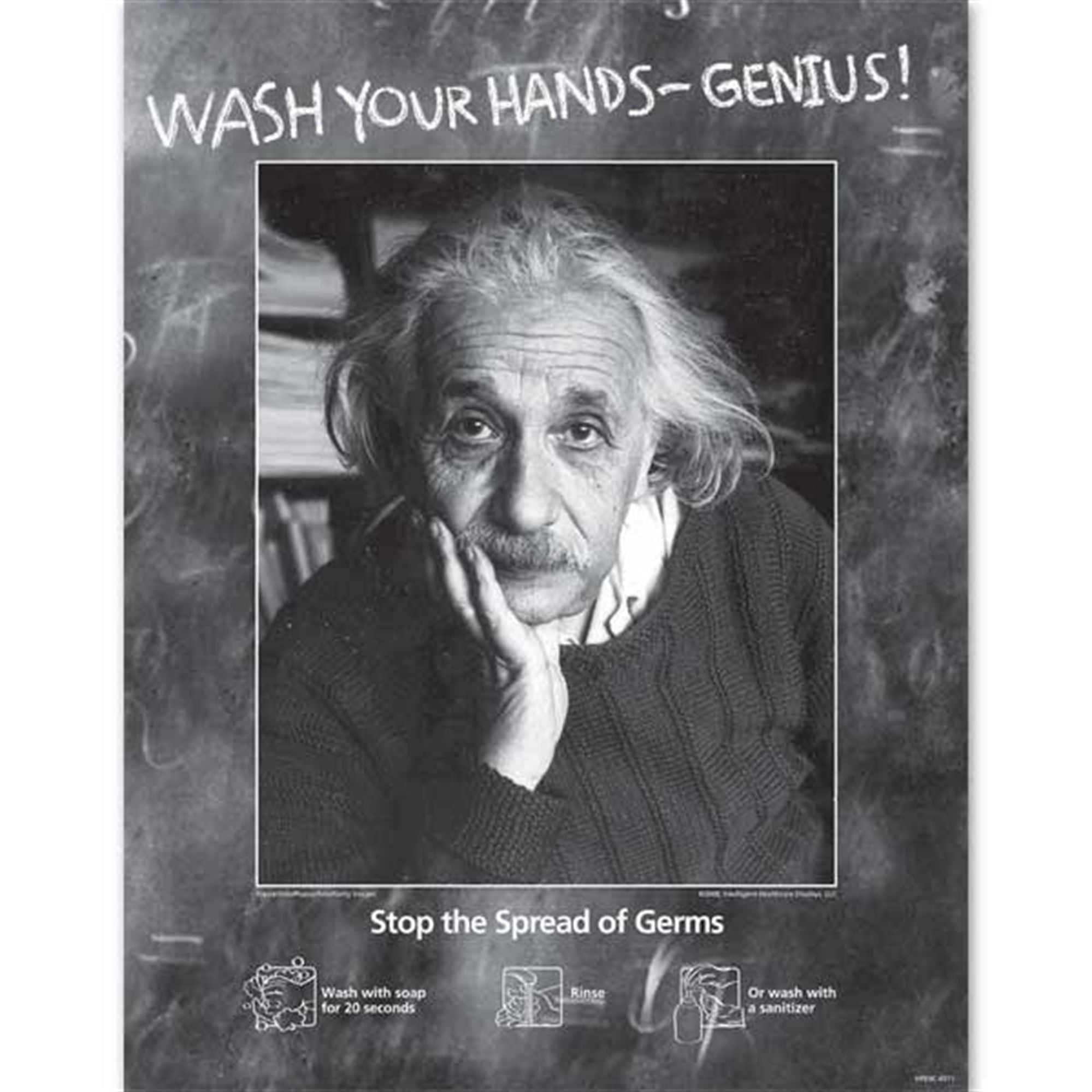 Einstein-Themed Hand Hygiene Poster