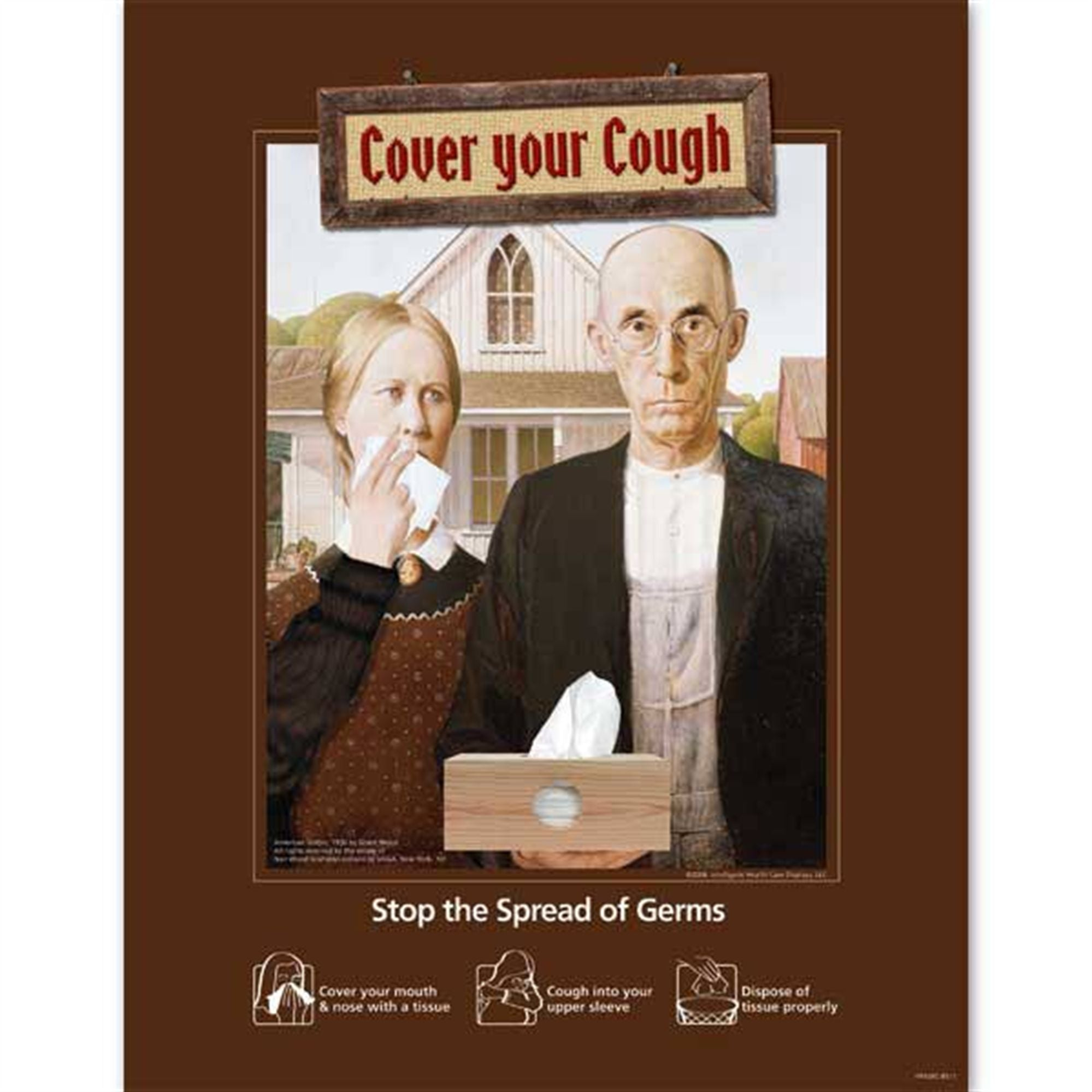 American Gothic-Themed Cough Etiquette Poster