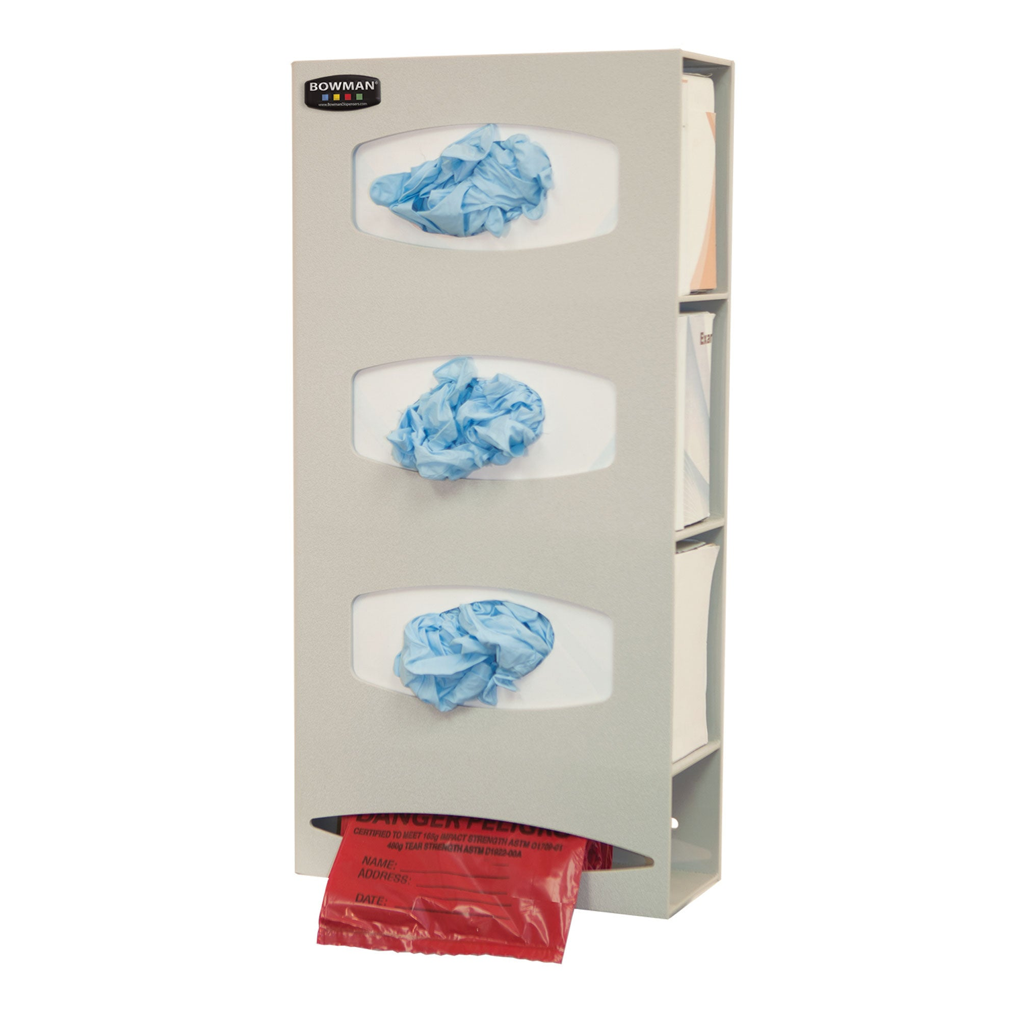 Bowman ABS Triple Glove Box Dispenser with Single Bag Dispenser