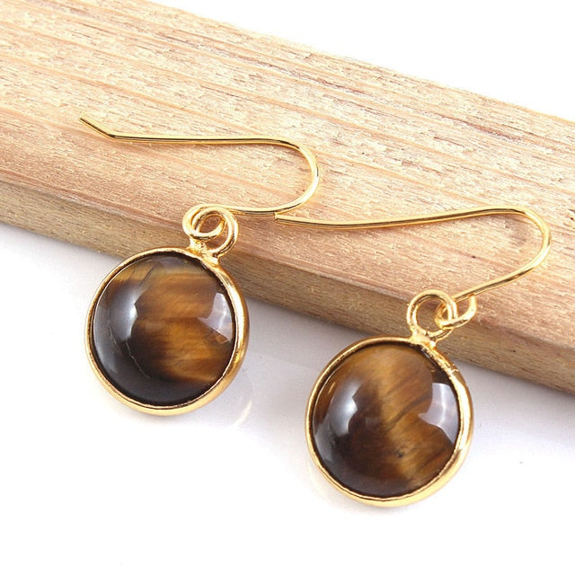 1 Pair Round Natural Healing Stone Dangle Earring